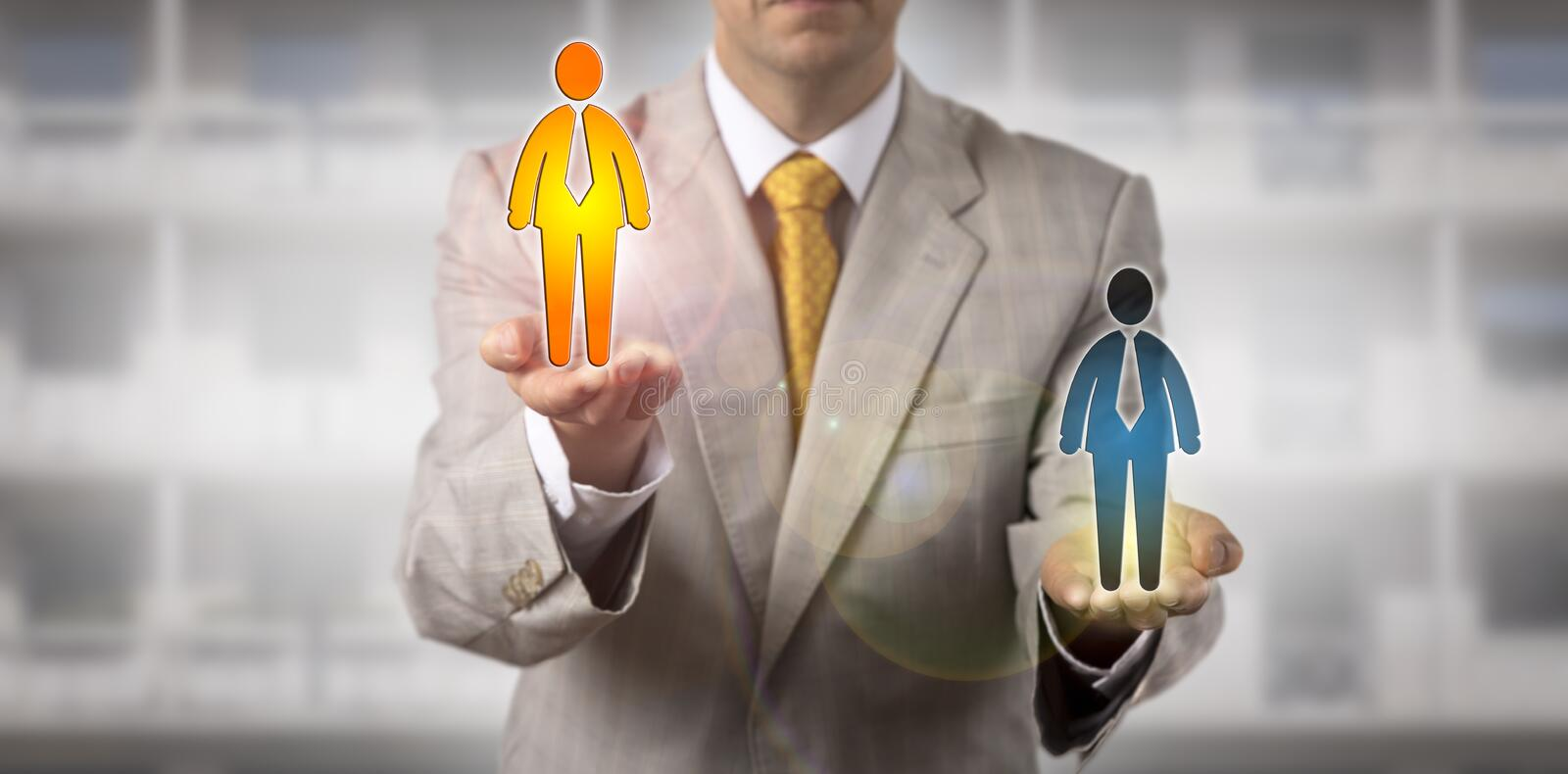 Recruiter Selecting Winner Among Two Candidates stock image