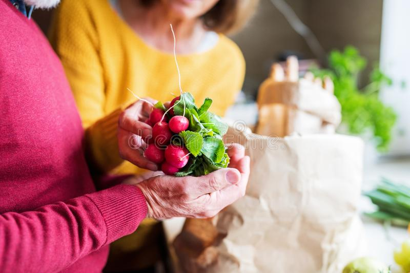Senior couple unpacking food in the kitchen. Unrecognizable senior couple unpacking food in the kitchen. An old men and women inside the house royalty free stock photos