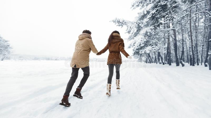 Unrecognizable Spouses Running Away Holding Hands In Snowy Forest, Panorama royalty free stock photo