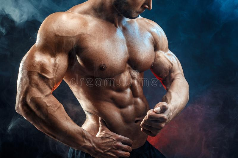 Unrecognizable Strong bodybuilder man with perfect abs, shoulders,biceps, triceps, chest royalty free stock images
