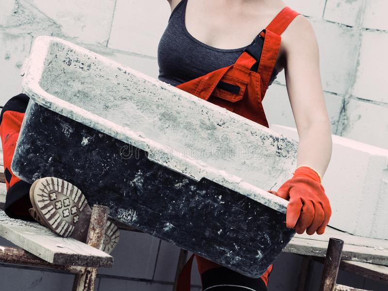 Female builder working build new house royalty free stock images
