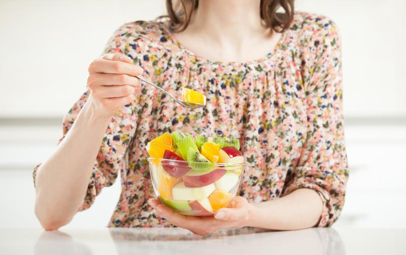 Fresh fruit salad for healthy lunch stock image