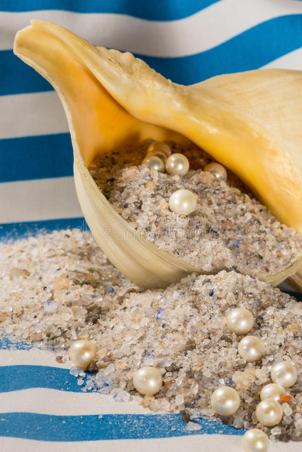 Unrefined naturalni morza sól, perła i skorupa, zdjęcia royalty free