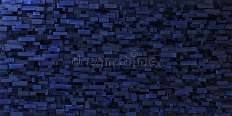 unregelmäßige grungy Wand des Mosaiks 3d im tiefen Blau lizenzfreie abbildung