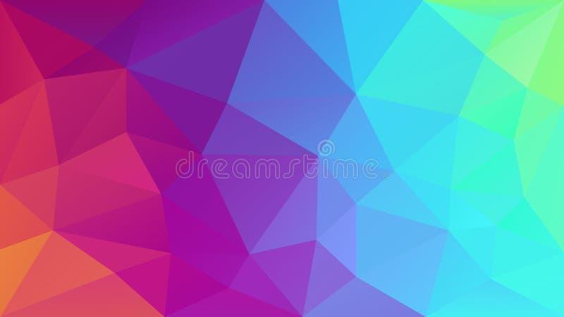 Unregelmäßiger polygonaler Hintergrund des Vektors - Dreieckniedriges Polymuster - farbenreicher Spektrumneonregenbogen - ganz ei stock abbildung