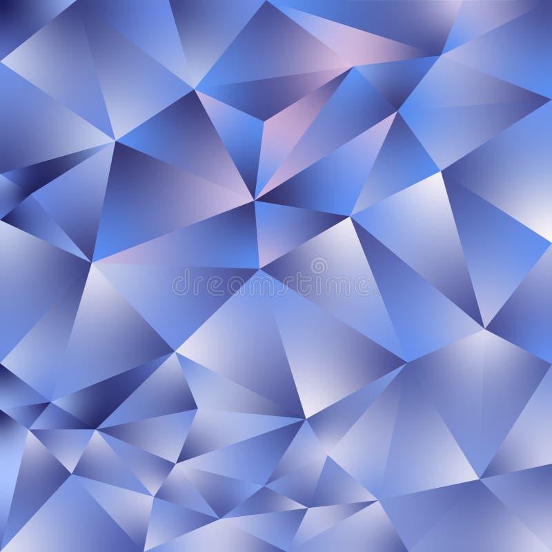 Unregelmäßiger polygonaler quadratischer Hintergrund des Vektors - Dreieckniedriges Polymuster - ganz eigenhändig geschriebe blau vektor abbildung
