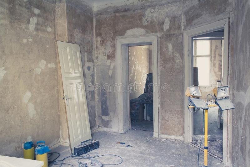 Unrenovated flat - room before renovations stock photography