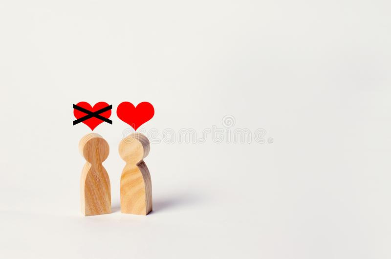 Unrequited love. Rejection of recognition in love. Refusal of relations, break of relations. Broken heart. Complicated relationshi royalty free stock photography