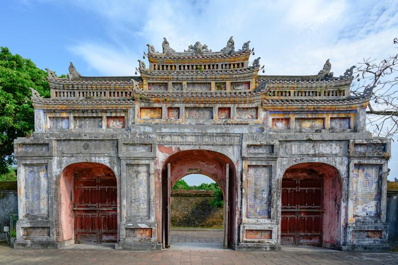 Unrestored ancient gate of Imperial City Hue, Vietnam Gate of the Forbidden City of Hue. stock images