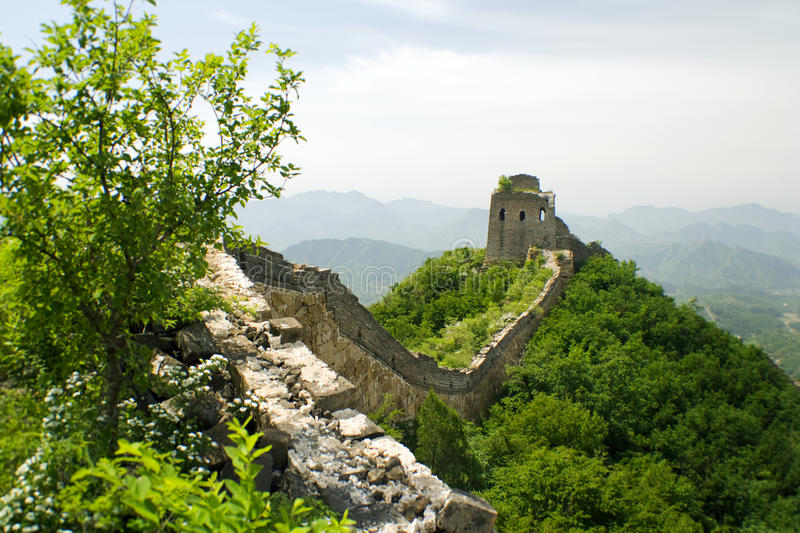 Unrestored section of the Great Wall of China stock image