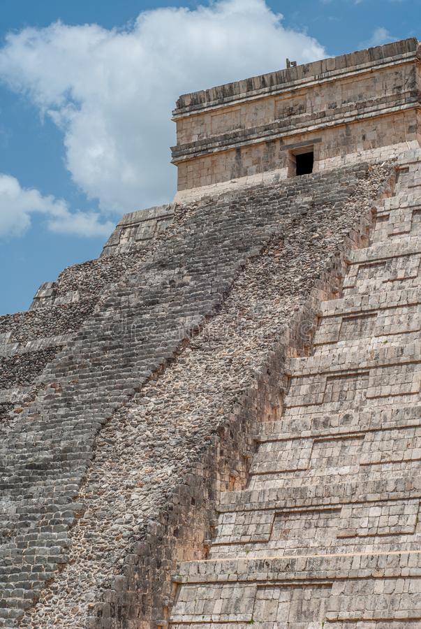 Unrestored staircase of the Mayan Pyramid of Kukulkan, known as El Castillo, classified as Structure 5B18 stock image