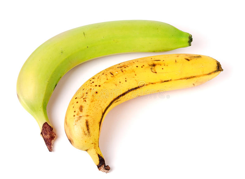Unripe and overripe bananas isolated on white background. Unripe and overripe bananas isolated on white background stock photography
