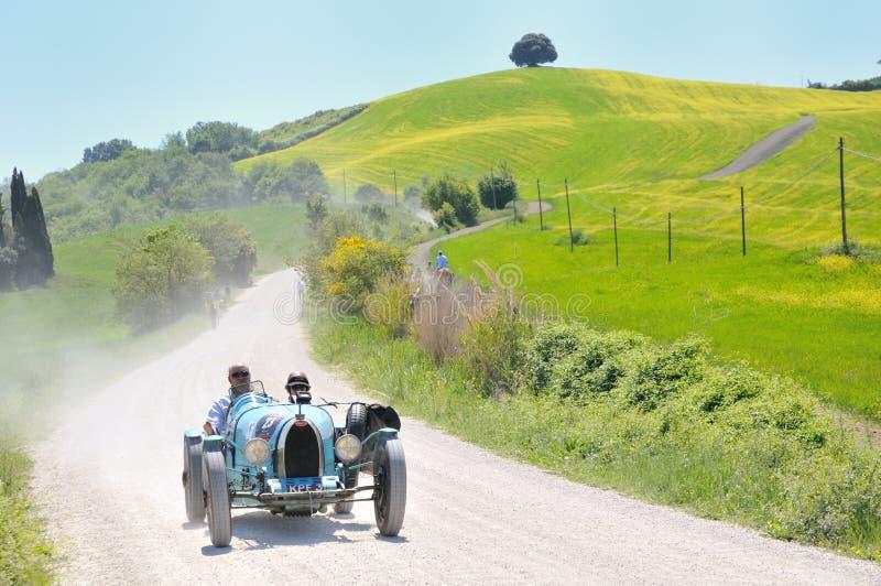 Uns 1925 claros - tipo azul 35 de BUGATTI em Miglia 1000 fotografia de stock