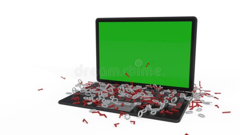 Uns dados zero e o fundo de um computador, rendição 3d ilustração do vetor