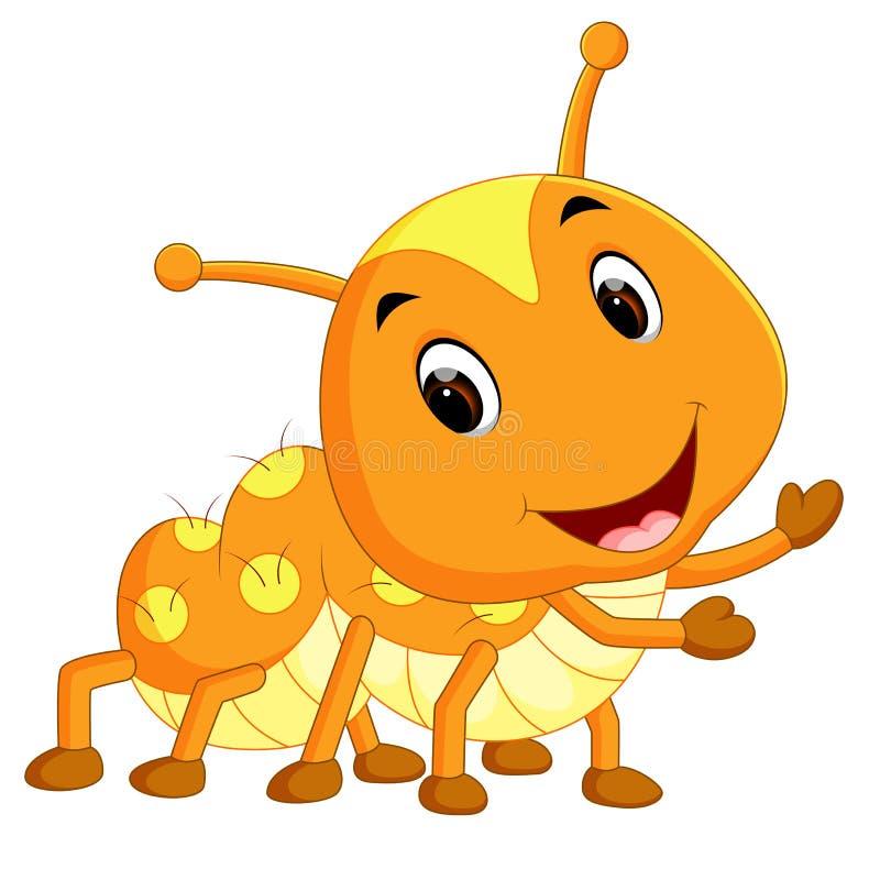 Uns desenhos animados amarelos da lagarta ilustração do vetor