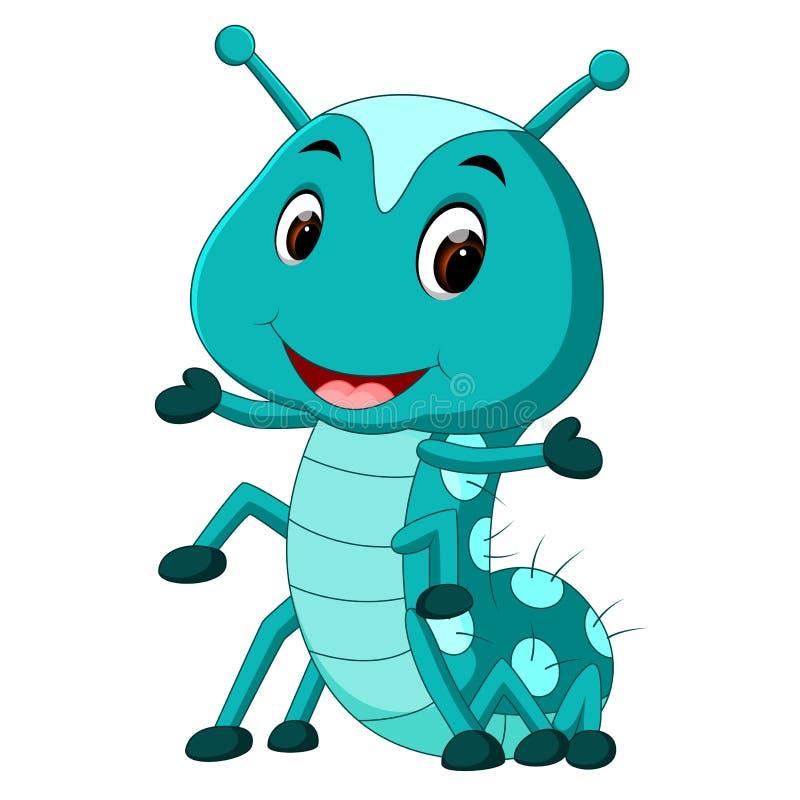 Uns desenhos animados azuis da lagarta ilustração stock