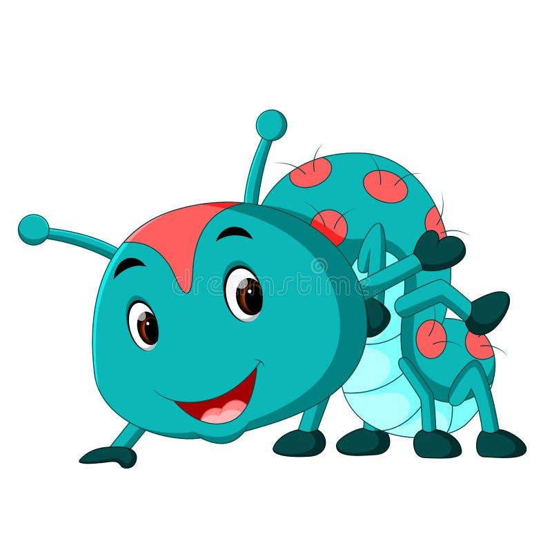 Uns desenhos animados azuis da lagarta ilustração do vetor
