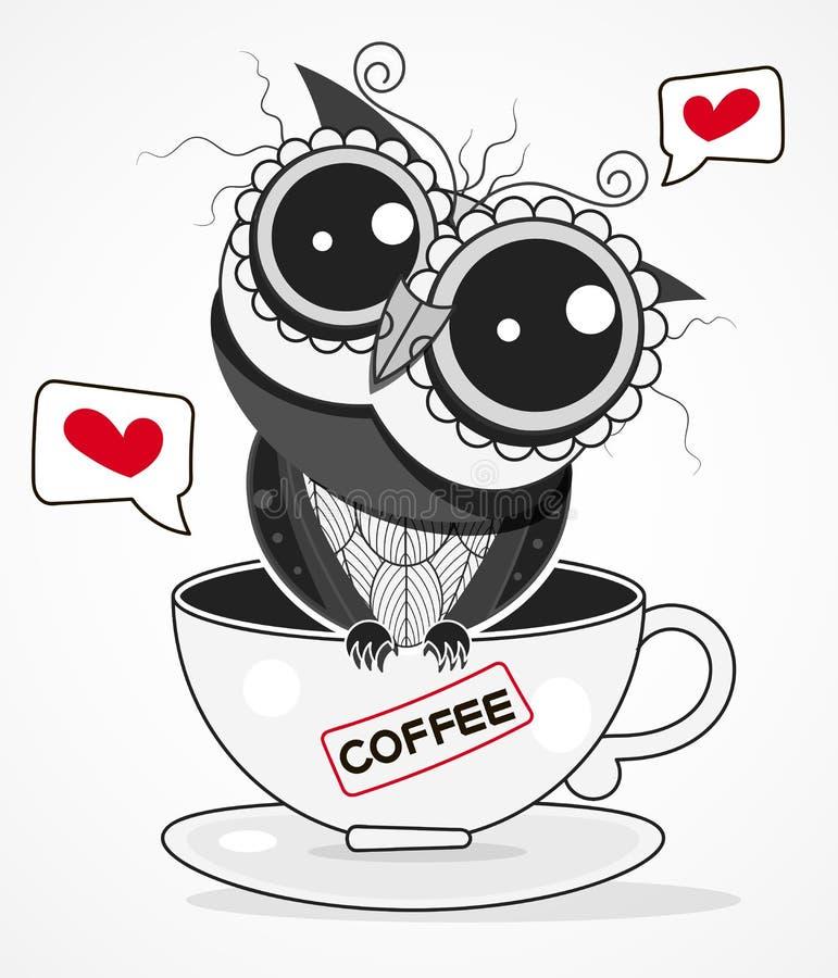 Uns desenhos animados da ilustração do vetor do copo de café de Owl On A isolados no fundo Projeto para o cart?o ilustração royalty free