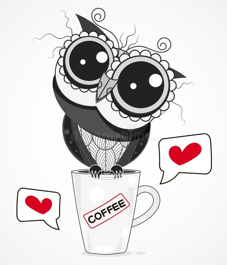 Uns desenhos animados da ilustração do vetor do copo de café de Owl On A isolados no fundo Projeto para o cart?o ilustração stock