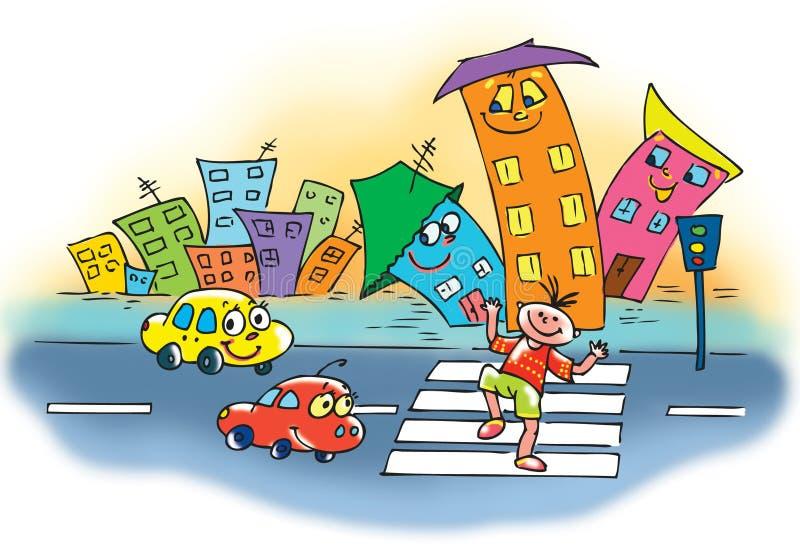 Uns desenhos animados de um menino engraçado que cruza a rua ilustração do vetor
