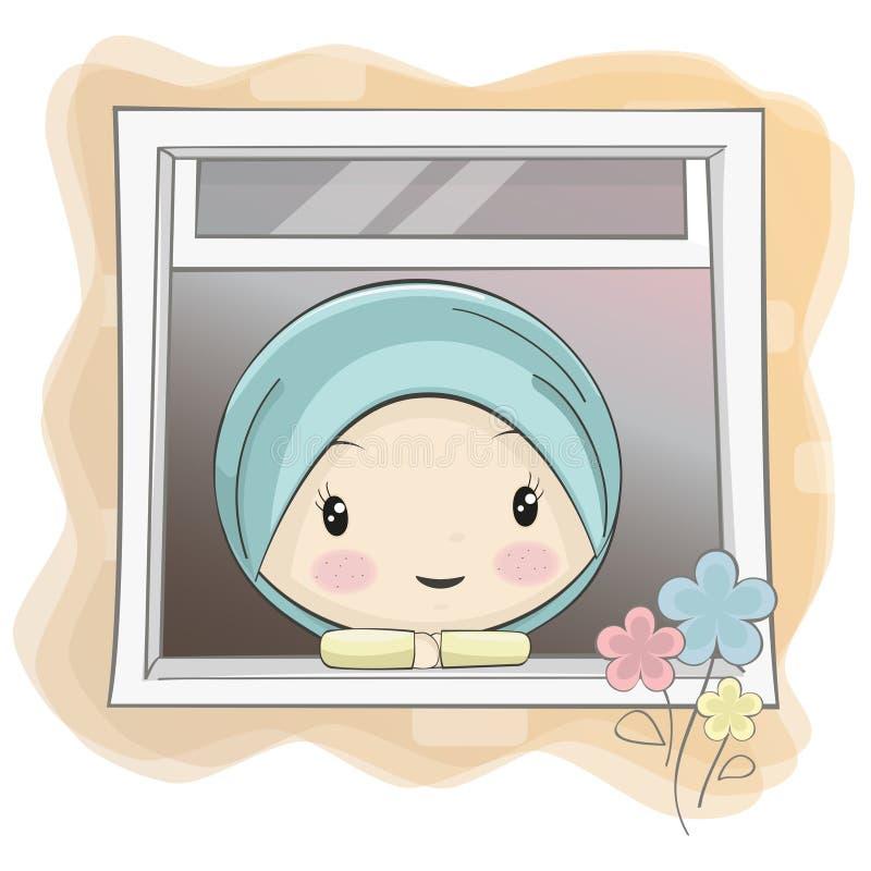 Uns desenhos animados muçulmanos bonitos da menina estrelandos através da janela ilustração do vetor