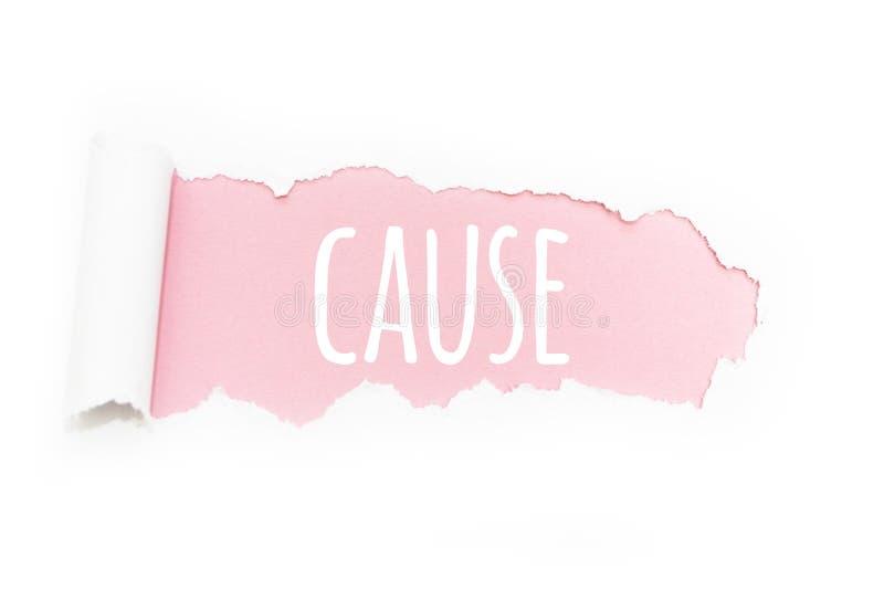 Uns because do subtítulo na ruptura do papel em um fundo cor-de-rosa ilustração royalty free