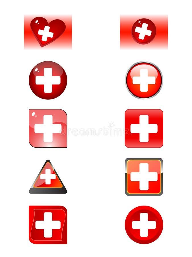 Uns lotes abotoam-se com um ícone da marca da ajuda ilustração do vetor