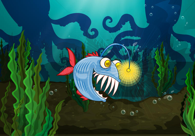 Uns peixes e um polvo do monstro ilustração royalty free