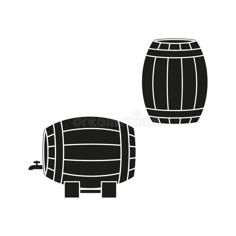 Uns tambores de ícones do vinho ou da cerveja ilustração royalty free