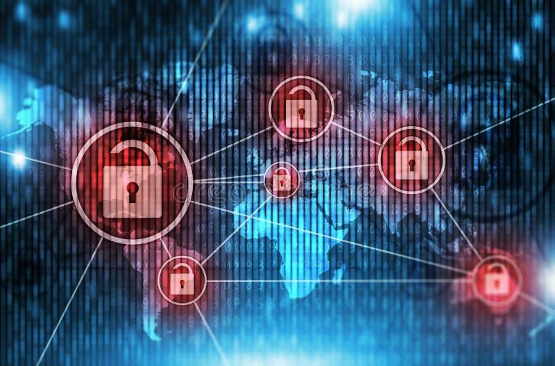 Unsafe Global Network. Concept Illustration with Open Padlock Symbols. Unsafe Broken Network. Hacked Network stock images