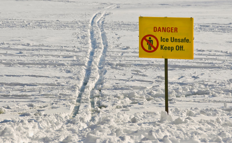 Unsafe Ice Sign. Danger. Ice Unsafe. Keep Off. Sign at High Park. Toronto royalty free stock photography