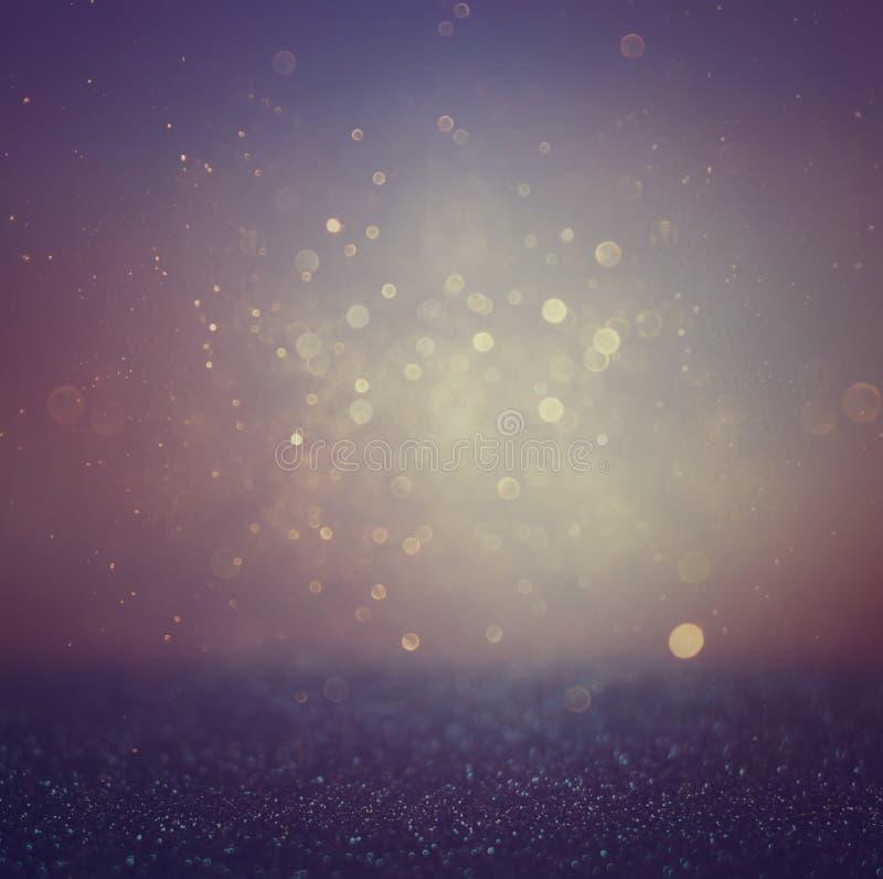 Unscharfe abstrakte purpurrote, schwarze und dunkelblaue bokeh Lichter und Beschaffenheiten Bild ist defocused lizenzfreie stockfotos