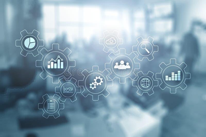 Unscharfe Büroräume Geschäfts-Technologieprozess-Zusammenfassungsdiagramm mit Gängen und Ikonen Arbeitsfluß und Automatisierung lizenzfreies stockbild