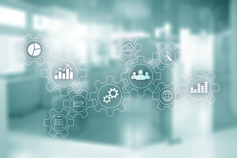 Unscharfe Büroräume Geschäfts-Technologieprozess-Zusammenfassungsdiagramm mit Gängen und Ikonen Arbeitsfluß und Automatisierung lizenzfreie abbildung