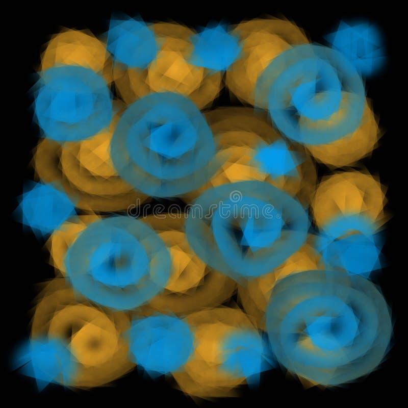 Unscharfe Beschaffenheit von transparenten Spiralen oder von Kreisen auf einem dunklen Hintergrund lizenzfreie abbildung