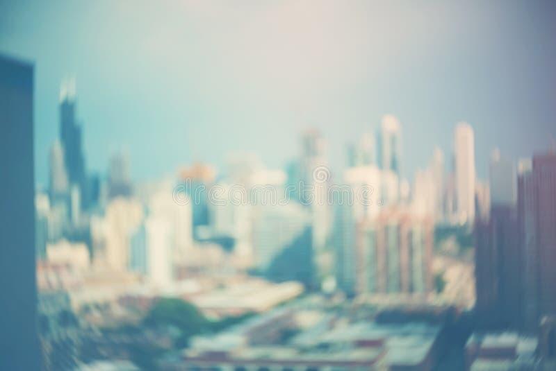 Unscharfe bokeh Chicago-Zusammenfassungsstadtbildskyline stockfoto