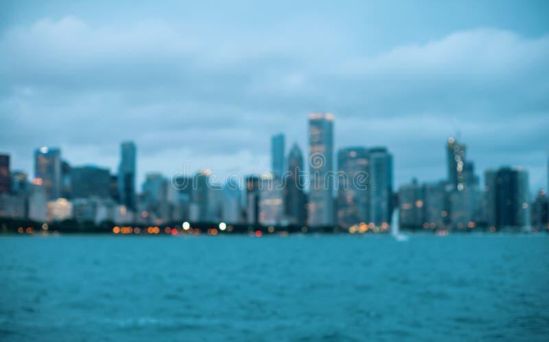 Unscharfe bokeh Chicago-Zusammenfassungsstadtbildskyline stockfotos