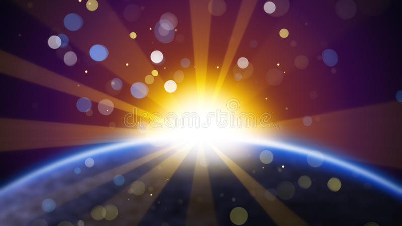 Unscharfe Erde und Sonne im Raum lizenzfreie abbildung