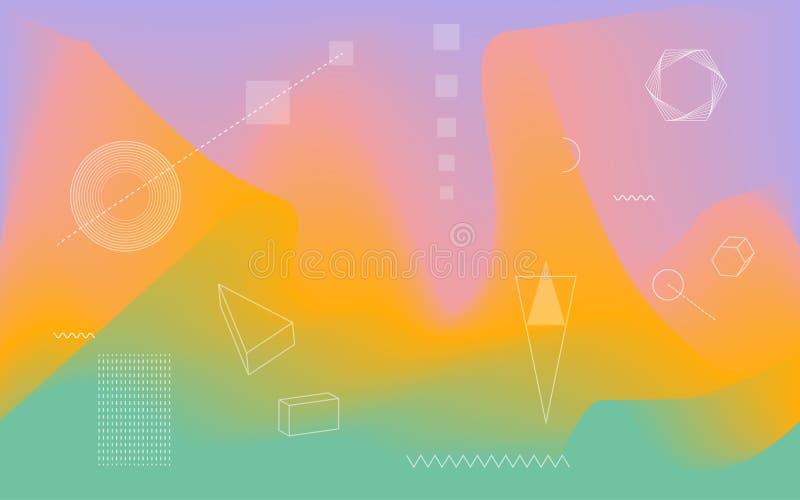 Unscharfe flüssige gewellte abstrakte vibrierende Farben fließen Mischungshintergrund mit geometrischen wissenschaftlichen Formen lizenzfreie abbildung