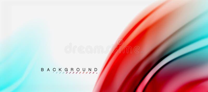 Unscharfe Flüssigkeit färbt Hintergrund, Zusammenfassungswellenlinien, Vektorillustration vektor abbildung