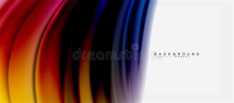 Unscharfe Flüssigkeit färbt Hintergrund, Zusammenfassungswellenlinien, Vektorillustration stock abbildung