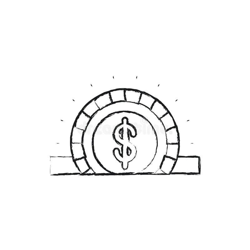 Unscharfe flache Münze der Schattenbildnahaufnahme mit dem Dollarsymbol, das im rechteckigen Schlitz niederlegt lizenzfreie abbildung