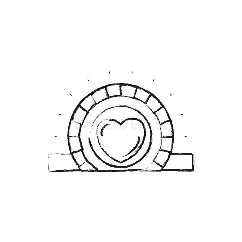 Unscharfe flache Münze der Schattenbildnahaufnahme mit Herzsymbol innerhalb des Niederlegens im rechteckigen Schlitz lizenzfreie abbildung