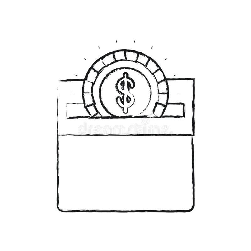 Unscharfe flache Münze des Schattenbildes mit dem Dollarsymbol, das im rechteckigen Schlitz des Kartonkastens niederlegt stock abbildung
