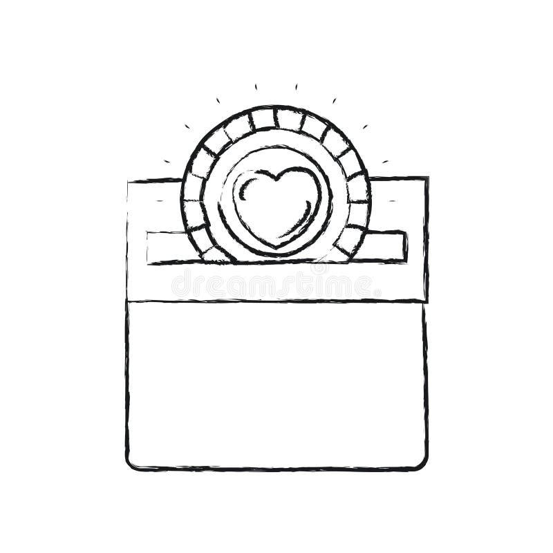 Unscharfe flache Münze des Schattenbildes mit Herzsymbol innerhalb des Niederlegens im rechteckigen Schlitz des Kartonkastens vektor abbildung