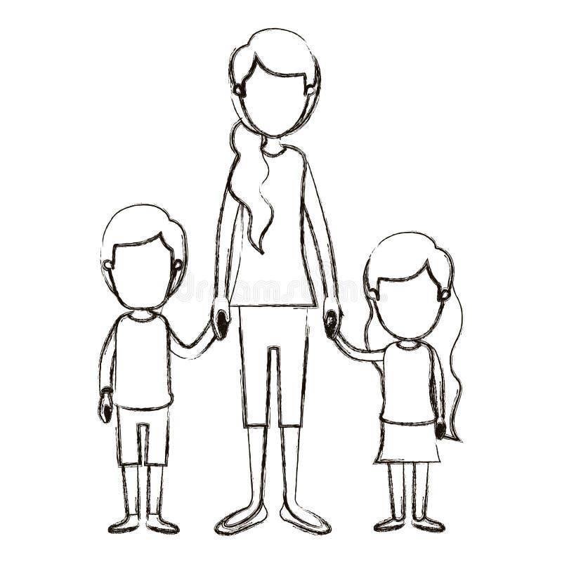 Unscharfe genommene Hand des Körpers der Schattenbildkarikatur gesichtslose volle Mutter mit Kindern lizenzfreie abbildung
