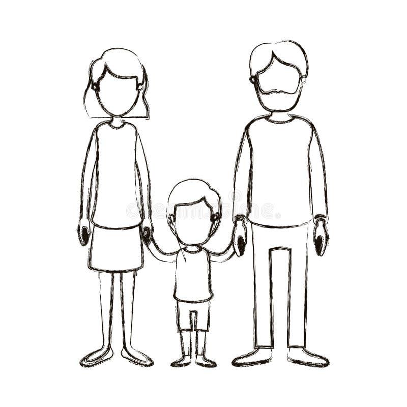 Unscharfe gesichtslose Familie der Schattenbildkarikatur mit dem Vater bärtig und Mutter mit dem kurzen Haar mit wenigem Jungen H lizenzfreie abbildung