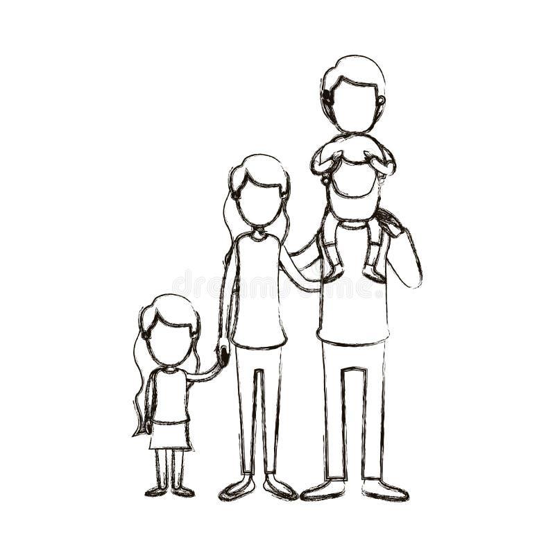 Unscharfe gesichtslose große Familieneltern der Schattenbildkarikatur mit Jungen auf seiner Rückseite und daugther genommenen Hän vektor abbildung