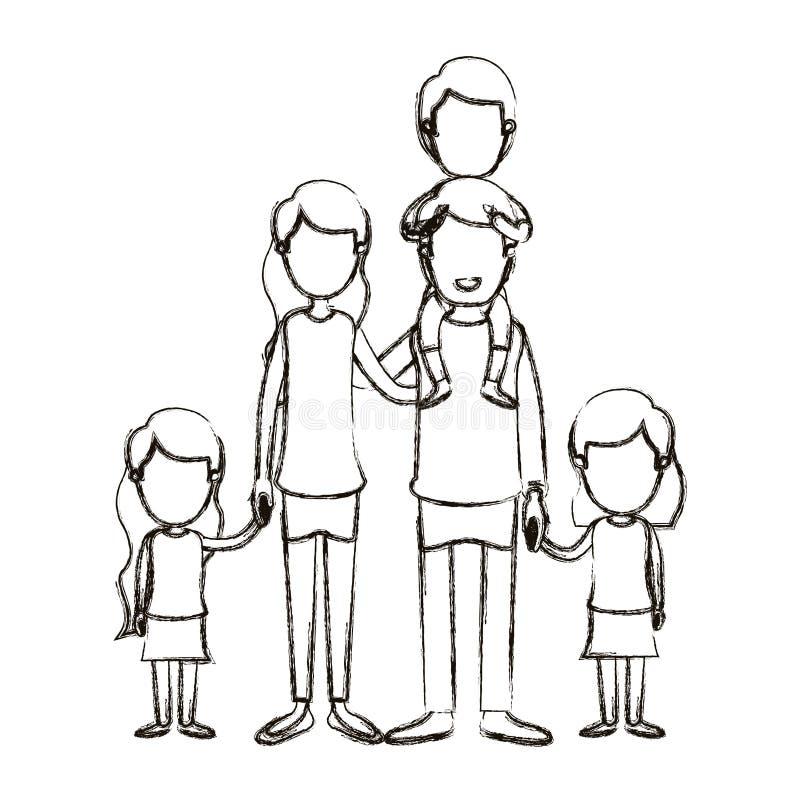 Unscharfe gesichtslose große Familieneltern der Schattenbildkarikatur mit Jungen auf seiner Rückseite und daugthers Hände genomme stock abbildung