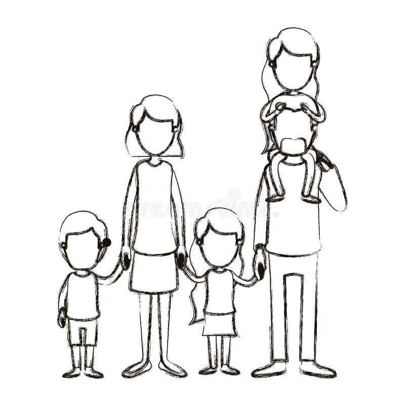 Unscharfe gesichtslose große Familieneltern der Schattenbildkarikatur mit Mädchen auf seiner Rückseite und Kindern Hände genommen stock abbildung